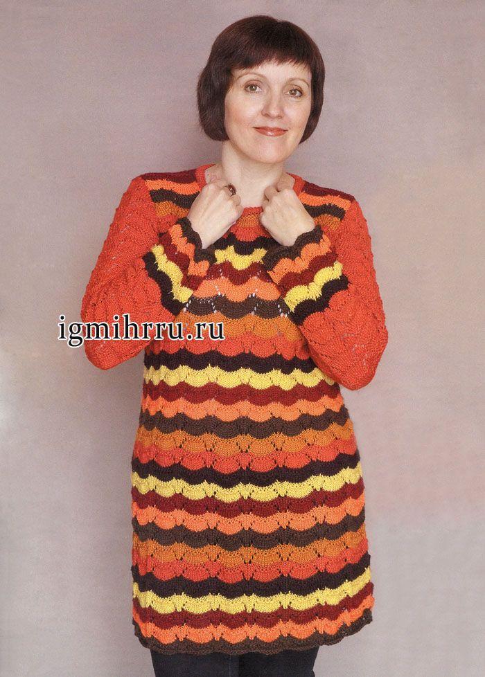 3563f0e9a61 Яркая разноцветная туника с узорами в стиле Миссони. Вязание спицами ...