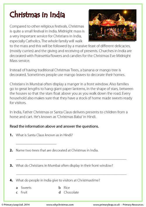 reading comprehension christmas in india worksheet kids pinterest. Black Bedroom Furniture Sets. Home Design Ideas