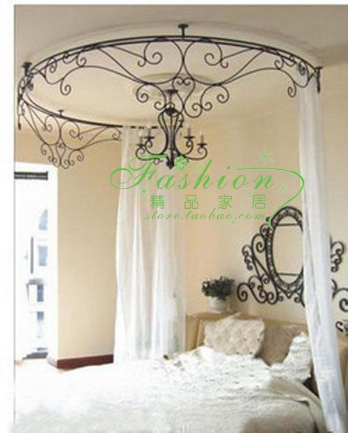 Curtain holder curtain rack princess bed frame mantle bed for Wrought iron four poster bed frames