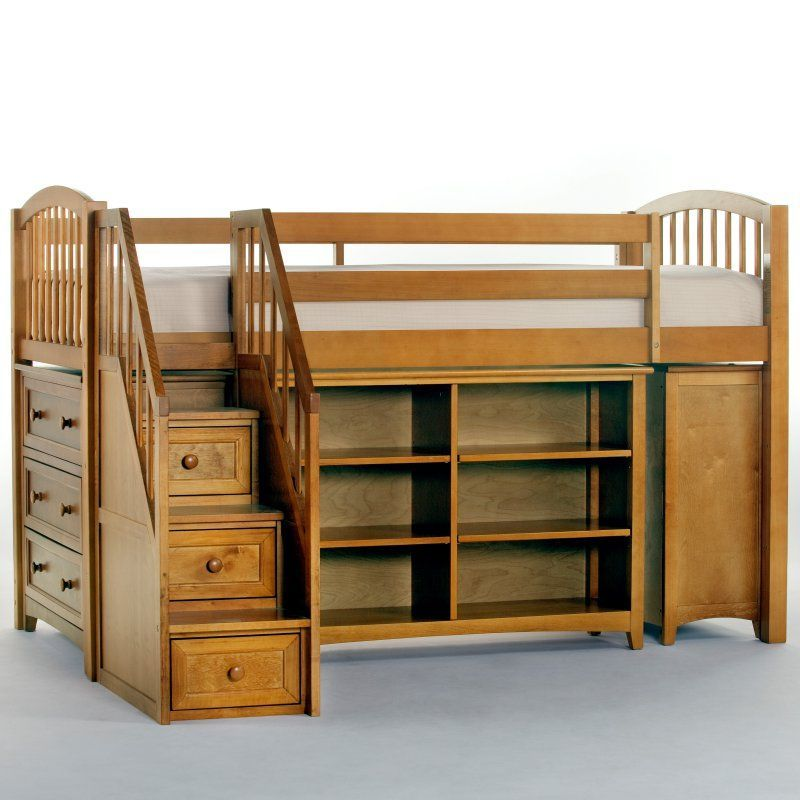 NE Kids Schoolhouse Storage Junior Loft Bed with Stairs