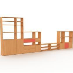 Photo of Wohnwand Buche – Individuelle Designer-Regalwand: Schubladen in Buche & Türen in Buche – Hochwertige