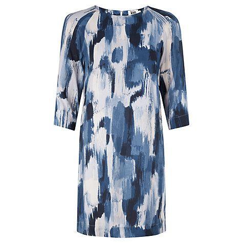 Kin by John Lewis Brushstroke Print Dress Navy 68112601 100% Viscose