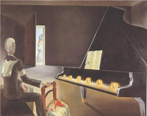 Partial Hallucination: Six Apparitions of Lenin on a Piano - Salvador Dali Completion Date: 1931 Style: Surrealism Genre: symbolic painting Technique: oil Material: canvas Dimensions: 114 x 146 cm Gallery: Musée National d'Art Moderne, Centre Georges Pompidou, Paris, France