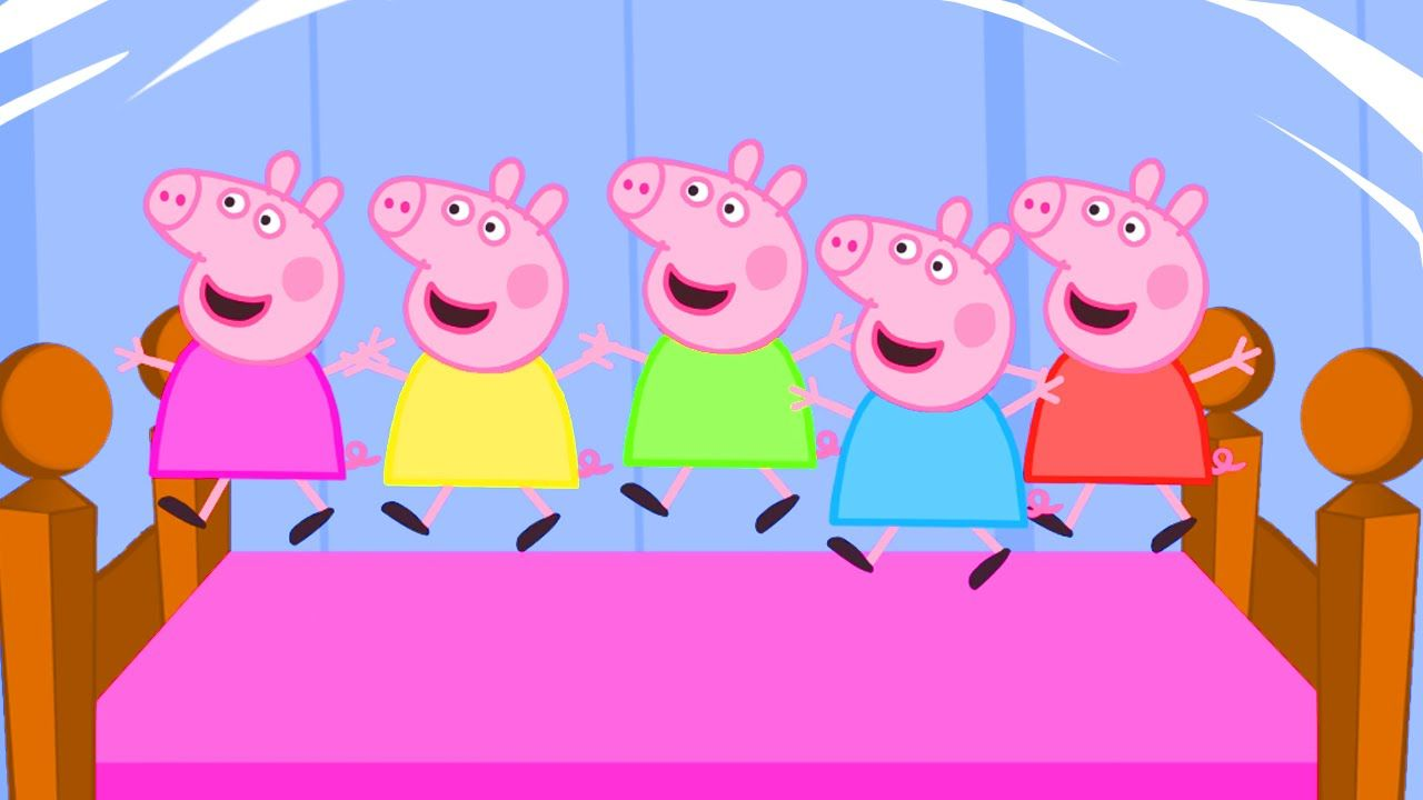 5 Little Peppa Jumping On The Bed Nursery Rhymes Lyrics And More
