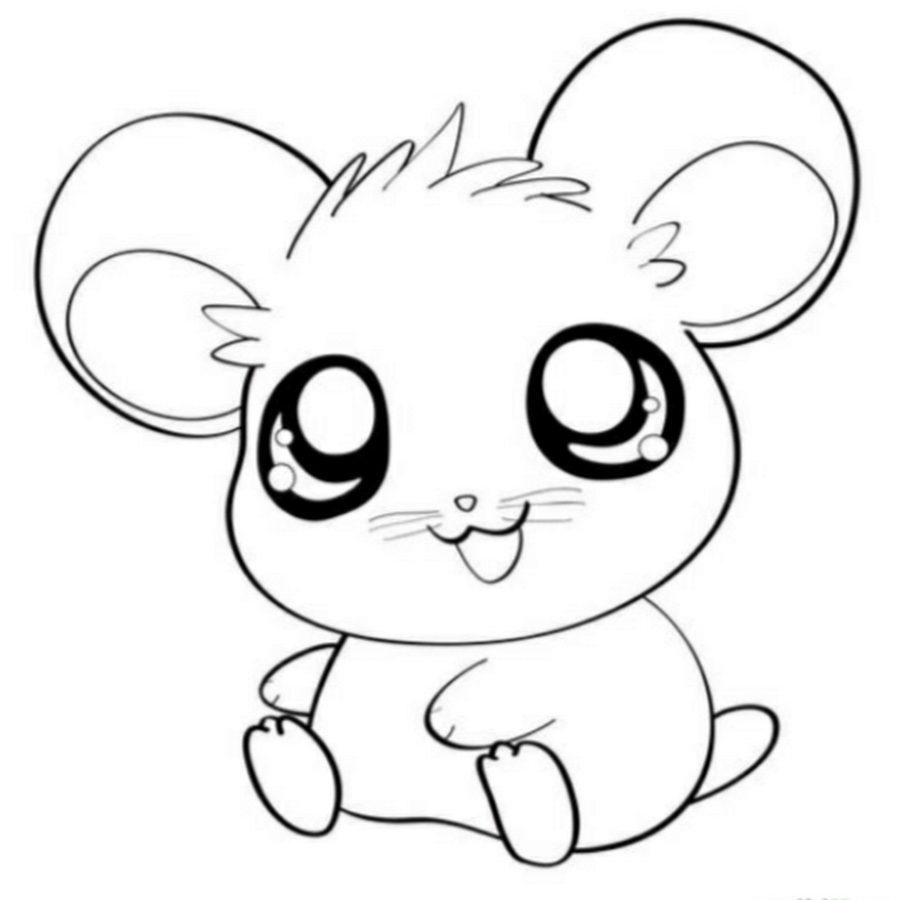 Drawn hamster colouring page #8 | Craft Motifs | Kawaii ...