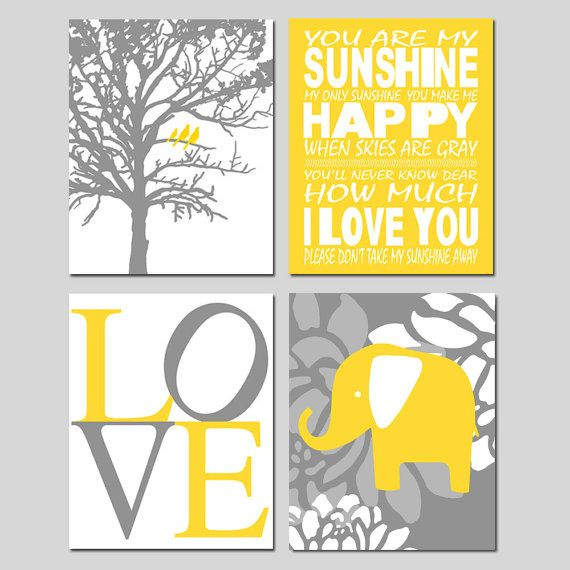 Kids Wall Art - Nursery - Set of Four 8x10 Prints - You Are My Sunshine, LOVE, Birds in a Tree, Elephant - Choose Your Colors