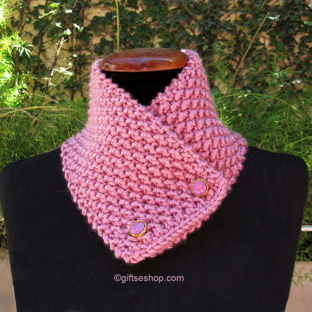 Knit scarf pattern- cowl knitting pattern, button scarf, knitted ...