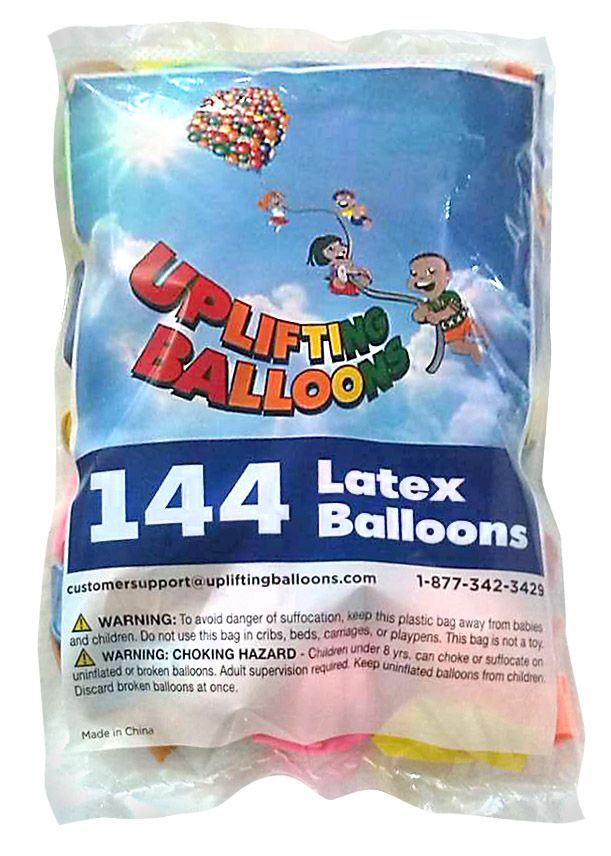 "Packages of 144 12"" Latex Balloons in an assortment of 10 10 vibrant colors. Available on Amazon.com by Uplifting Balloons.  http://www.amazon.com/144-Latex-Balloons-Vibrant-Colors/dp/B015CZZK5C/ref=sr_1_2?ie=UTF8&qid=1447357578&sr=8-2&keywords=144+latex+balloons"