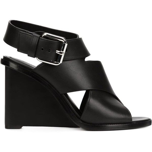 Alexander Wang 'Elisa' Sandals (19.690 RUB) ❤ liked on Polyvore featuring shoes, sandals, black, ankle wrap sandals, black shoes, black leather shoes, leather ankle strap sandals and strappy sandals