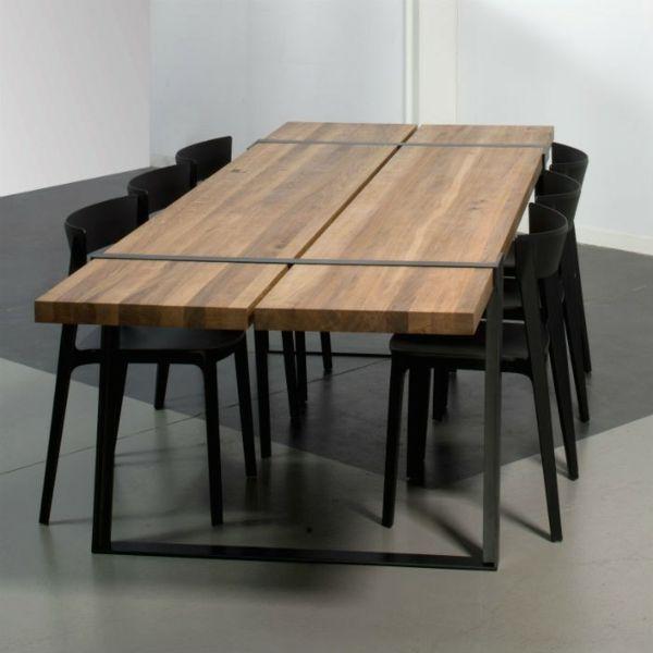 La Table Salle A Manger Ne Cesse De Surprendre Table Salle A Manger Salle A Manger Bois Table Bois Et Fer