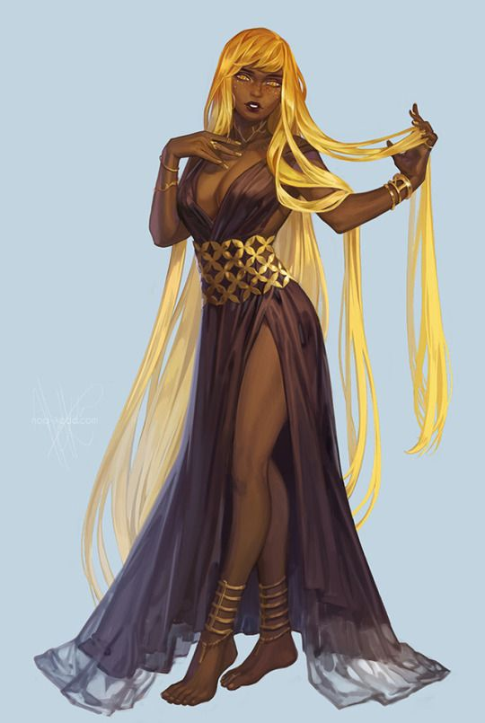 Female Young Human Blonde Hair Other Eyes Dark Skin Bard