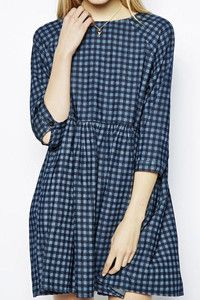 ASOS Denim Check Smock Dress