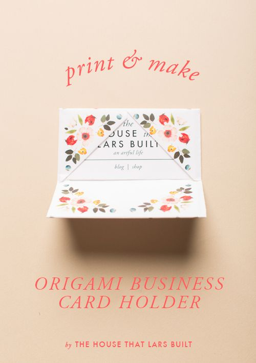 Print make origami business card holder business card holders diy origami business card holder pretty free printable tutorial from the house that lars built reheart Gallery