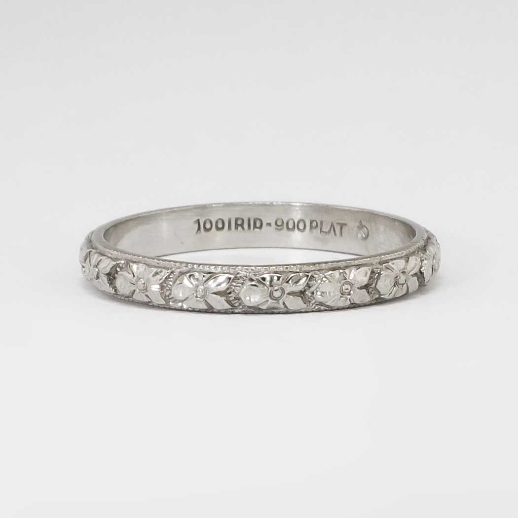 authentic 1930 s art deco floral eternity wedding band platinum size