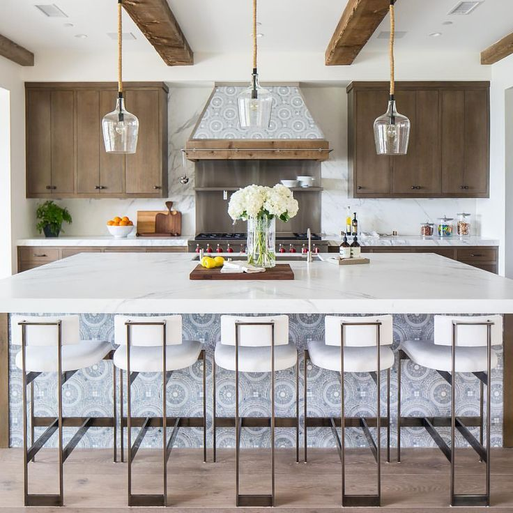 Five White Modern Counter Stools Sit At An Expansive Gray
