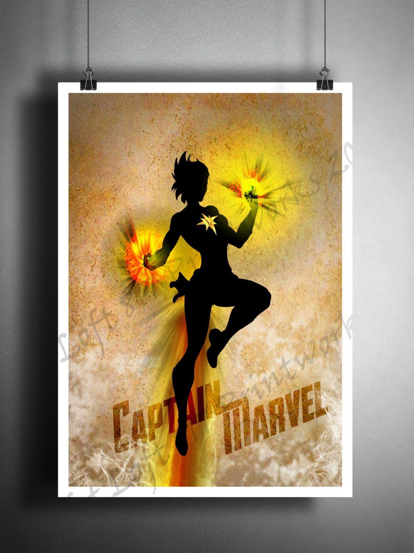 Captain Marvel art print, Super Hero pop art, Dictionary page art ...
