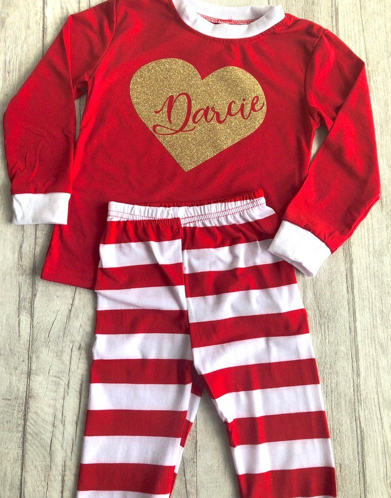 Personalised heart red and white little girls   boys Christmas Pyjamas 3234fa056