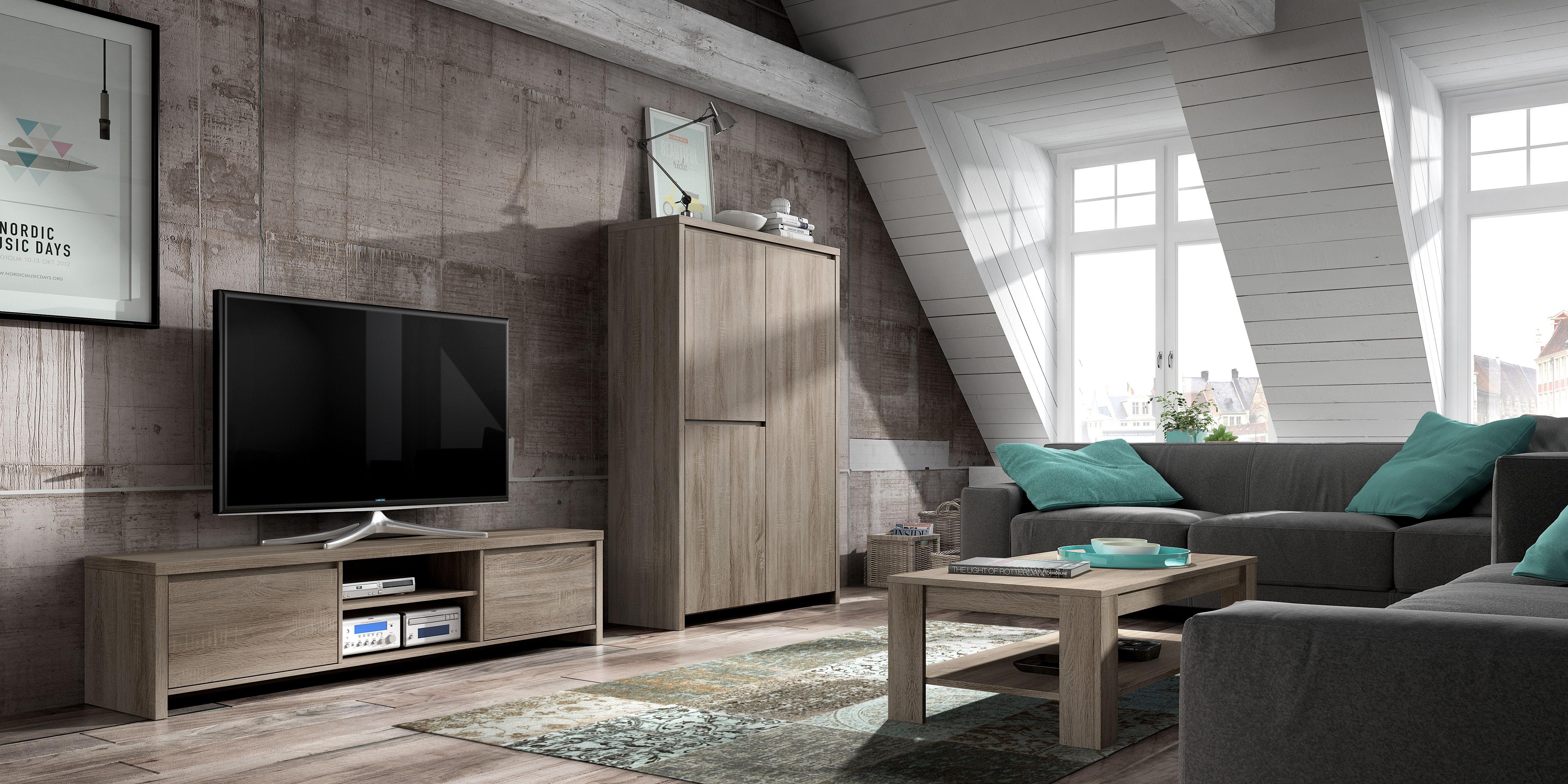 Eigentijdse #woonkamer meubelen bestaande uit een TV-meubel, barkast ...