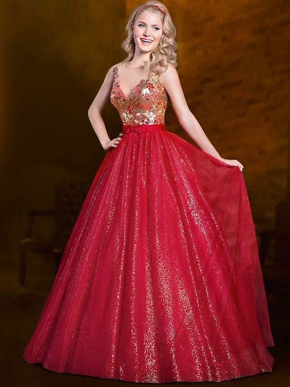 7ce58ab1c vestidos-longos-de-15-anos-vermelho-com-dourado | Trajes | Prom ...