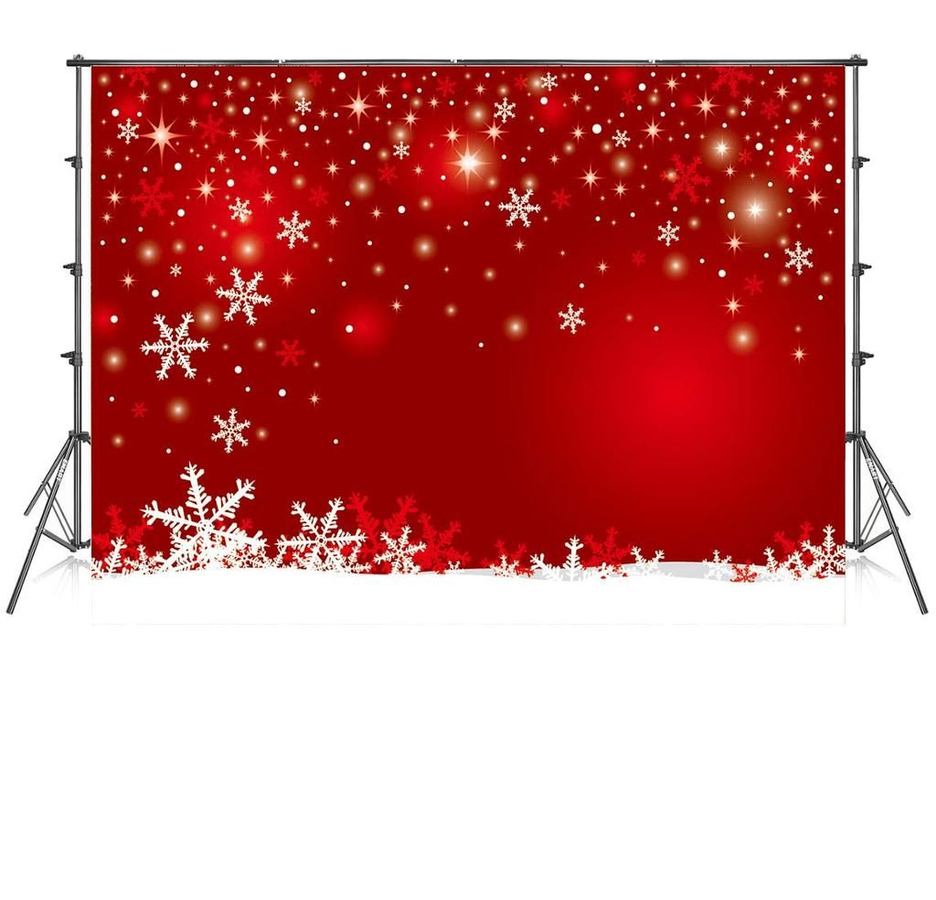 10x10 Ft Red Christmas Photography Backdrops Customized Snowflake Photo Studio Background Christmas Photography Backdrops Christmas Photography Photography Backdrops