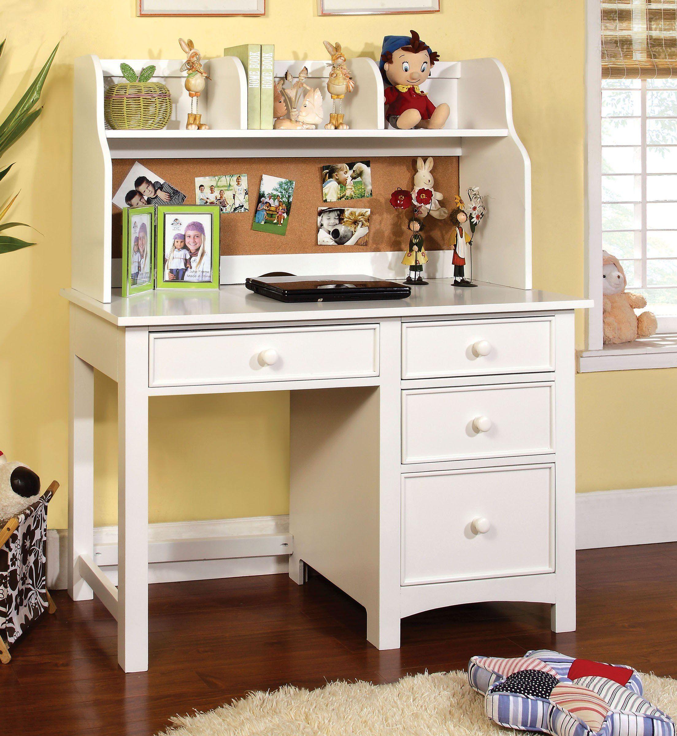 Furniture Of America Cm7905wh Dk Omnus White Desk Hutch Bedroom