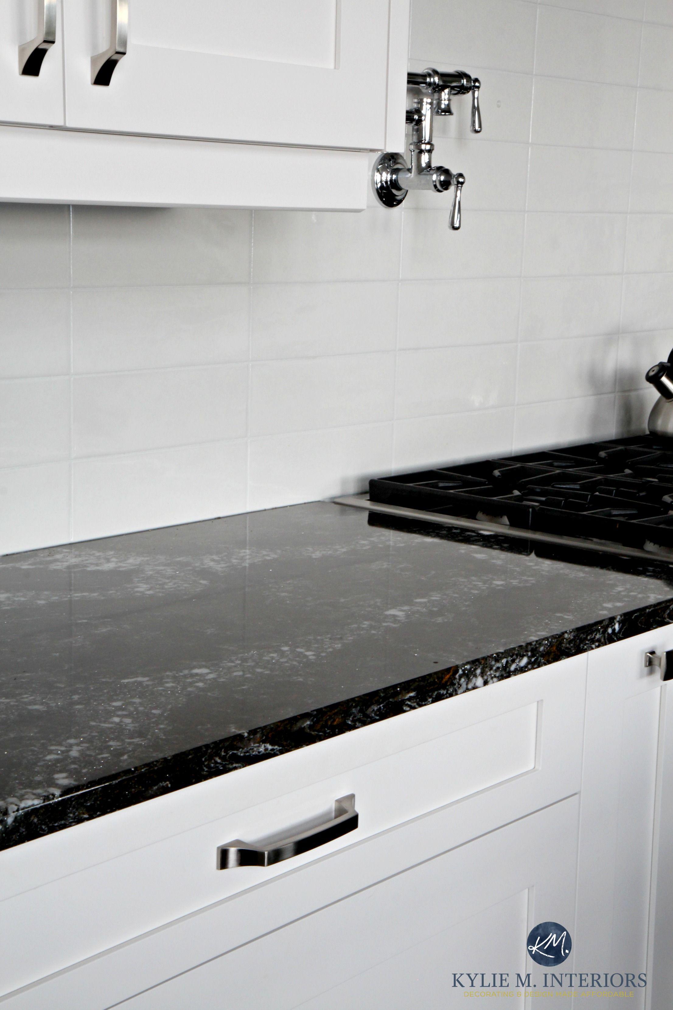 black subway tile kitchen french table cambria ellesmere quartz countertop white