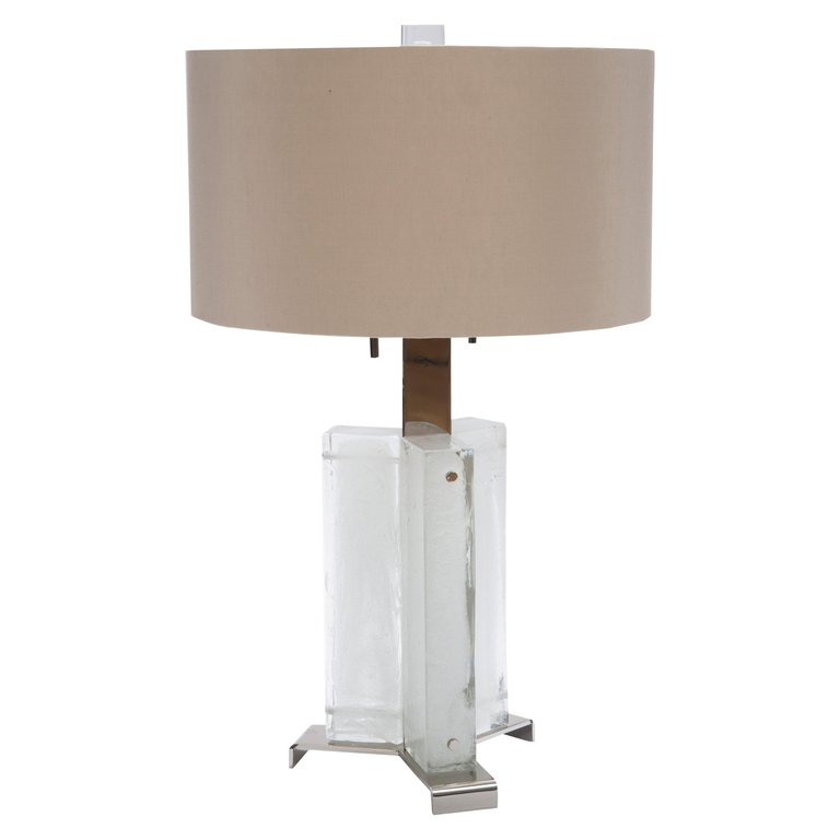 Donghia Glass Steel Muse Shade Bubbled Ice Modern Italian Table Lamp