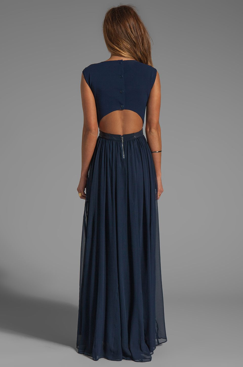 8c0581442ca Alice + Olivia Triss Sleeveless Maxi Dress with Leather Trim in Navy ...