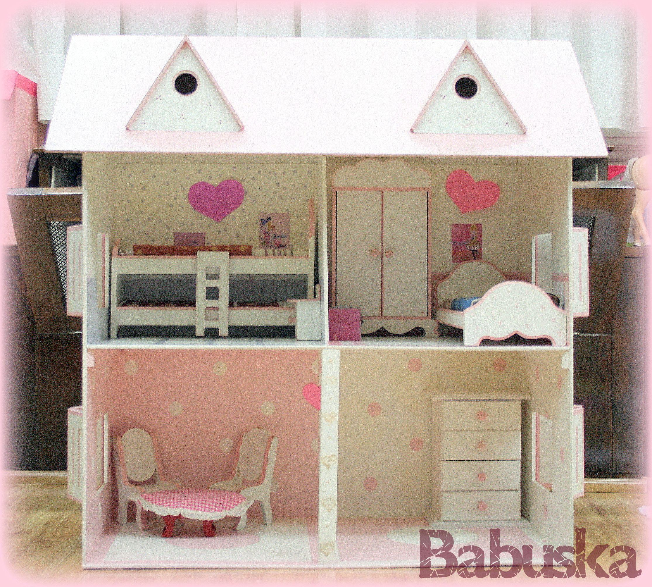 Casa de barbie en madera pintada decorada y laqueada a - Casas de madera pintadas ...