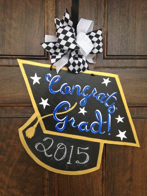 Graduation Cap Door Hanger With Chalkboard Graduation Cap Door Hanger Graduation Crafts Graduation Party Card Box