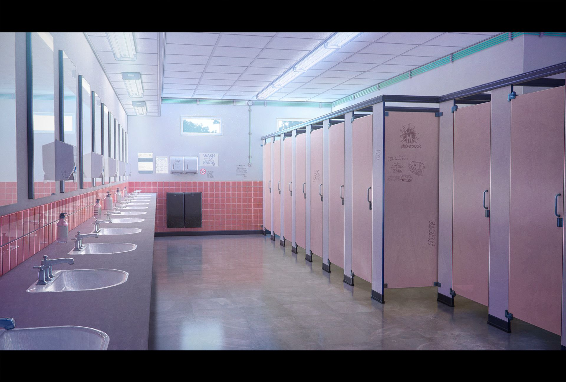 ArtStation WC/Restroom, Goliat Gashi Anime background