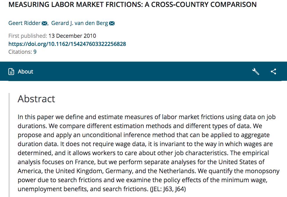 Ridder G And G Van Den Berg 2003 Measuring Labor Market Frictions A Cross Country Compariso Labour Market Human Development Report Development Programs