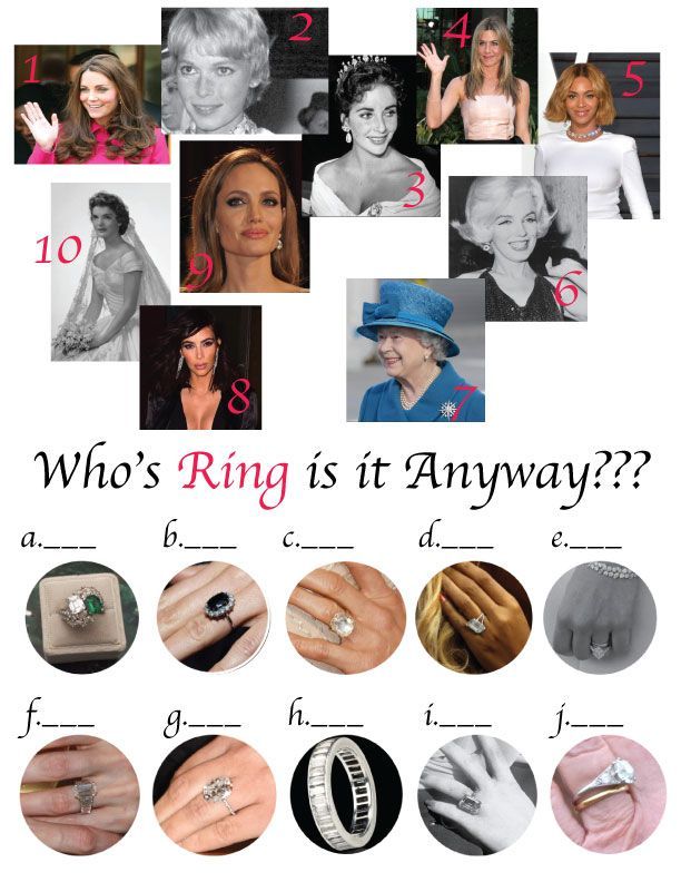 i found an article on the knot titled 10 most famous engagement rings in history and i turned it into a fun match