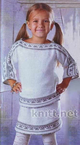 Вязание костюмов для девочек спицами 632