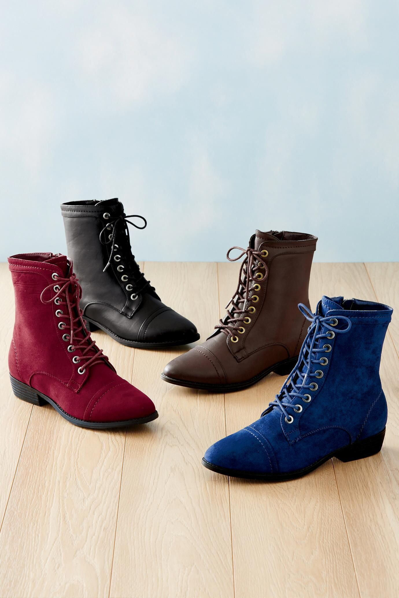 ce1cb0a03890 Lace-Up Boots by Bamboo®  Classic Women s Clothing from  ChadwicksofBoston   49.99