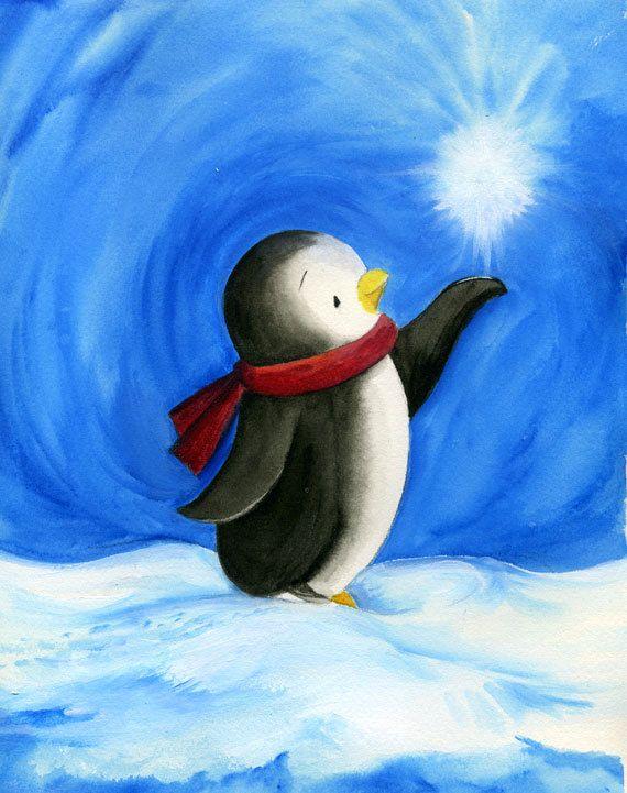 Kids room decor baby penguin handpainted original art for Christmas paintings easy