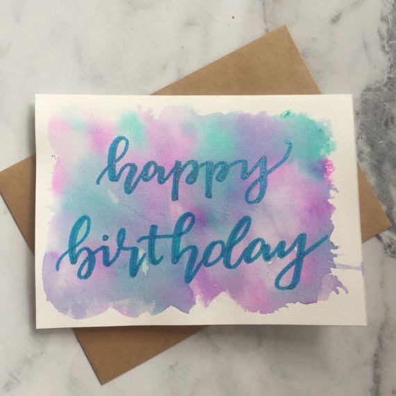 Happy Birthday - Watercolour Greeting Card - Lilac and Turquoise - Hand Lettered