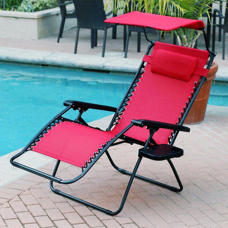 Outdoor Jeco Oversized Zero Gravity Chair with Sunshade