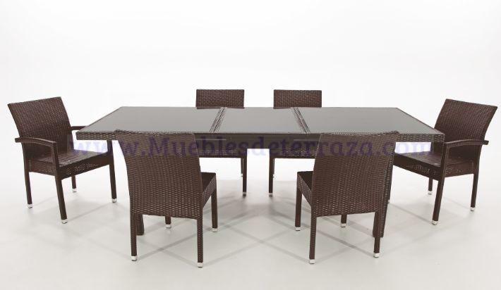 Muebles de terraza estructura de aluminio y ratt n for Muebles de jardin rattan