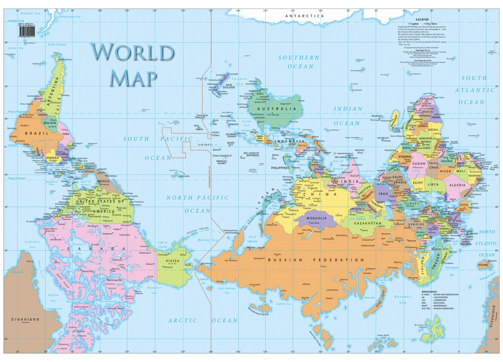 The world map as seen from new zealand thought of the day the world map as seen from new zealand gumiabroncs Choice Image