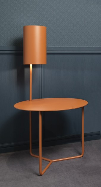 Black Metal Bedside Tables: Round Metal Bedside Table With Built-in Lights GIO By L