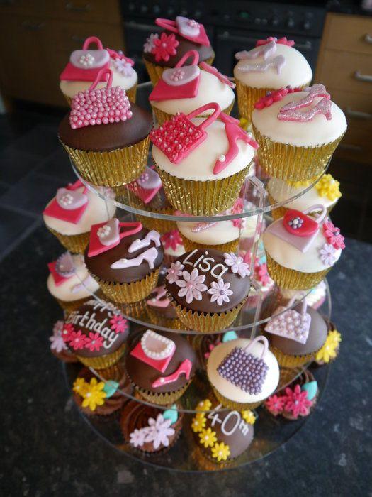 40th Birthday Cupcake Tower 40th Birthday Cupcakes Cake Land Cupcake Tower