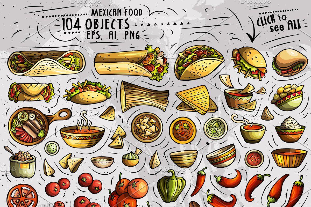 Mexican Food Cartoon Objects Set Food Cartoon Mexican Food Recipes Mexican