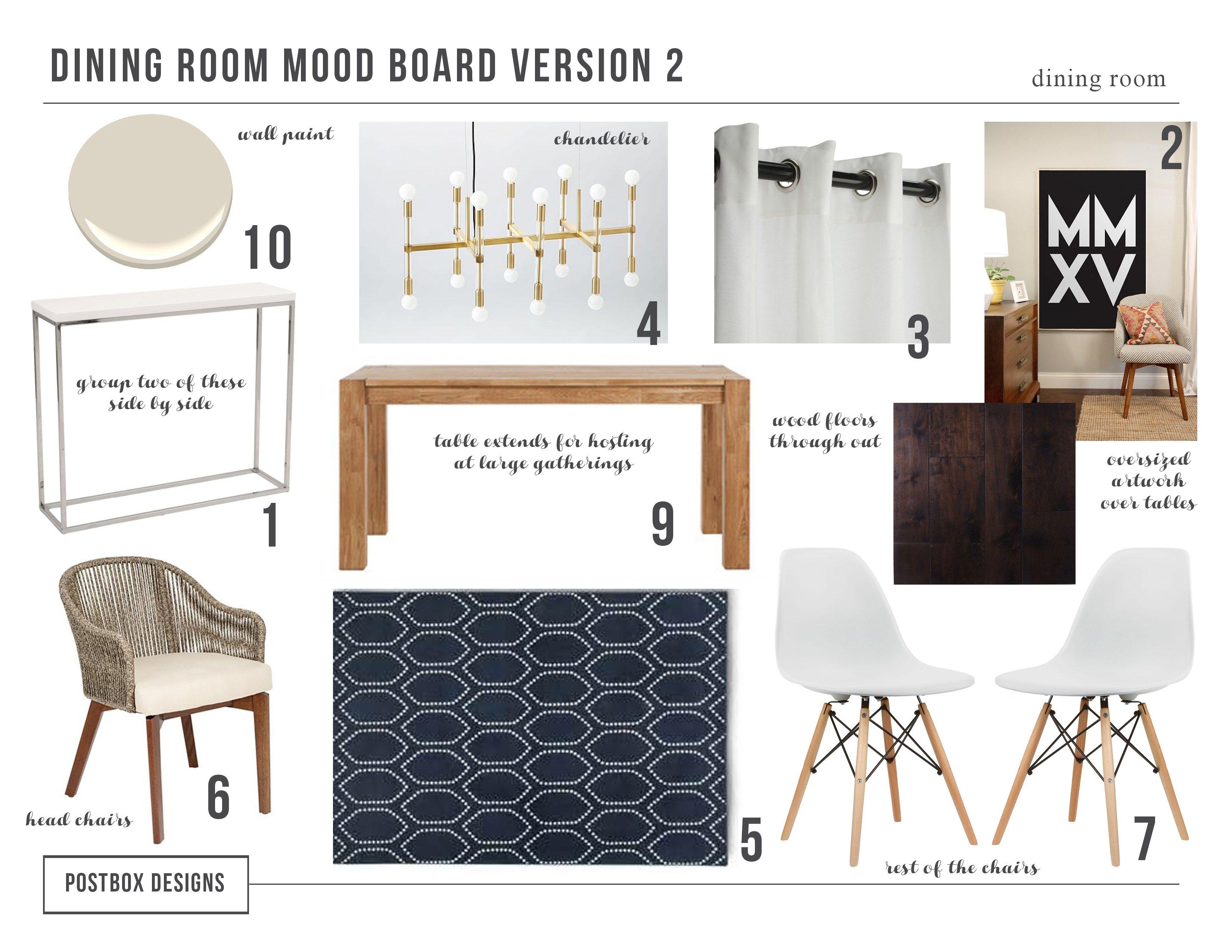 Modern Dining Room Makeover By Postbox Designs, Modern Dining Room Mood  Board, West Elm