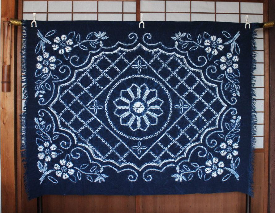 Indigo Shibori Cotton Cloth, Authentic Indigo Fabric For Japanese Table  Cloth, Small Bed Spread