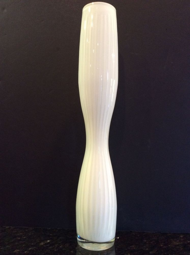 Mid Century Modern Stretch Vase Tall White Cut To Clear Cased Glass