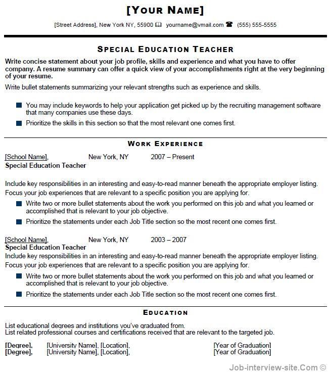 Teachers Resume Template Special Education Teacher Resume  Special Education Teacher