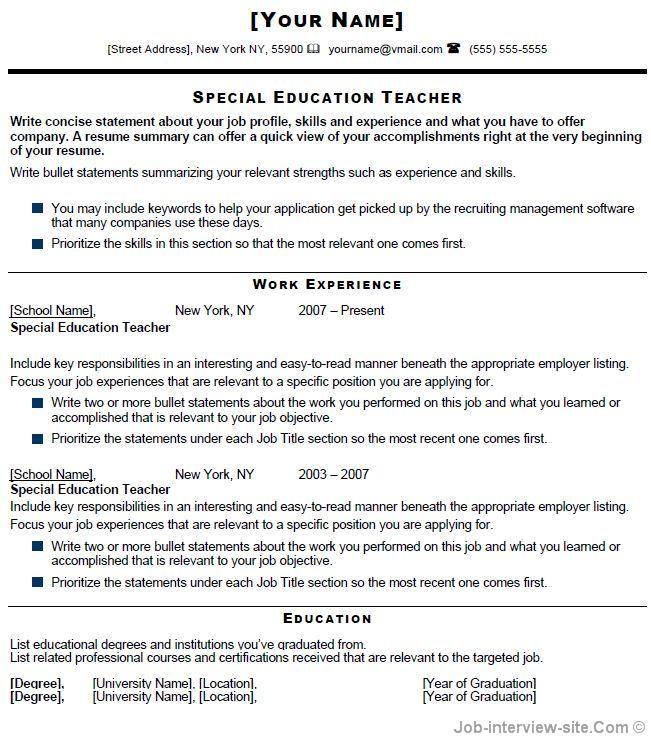 Special Education Teacher Resume Free Resume Templates Teacher Resume Examples Teacher Resume Template Education Resume