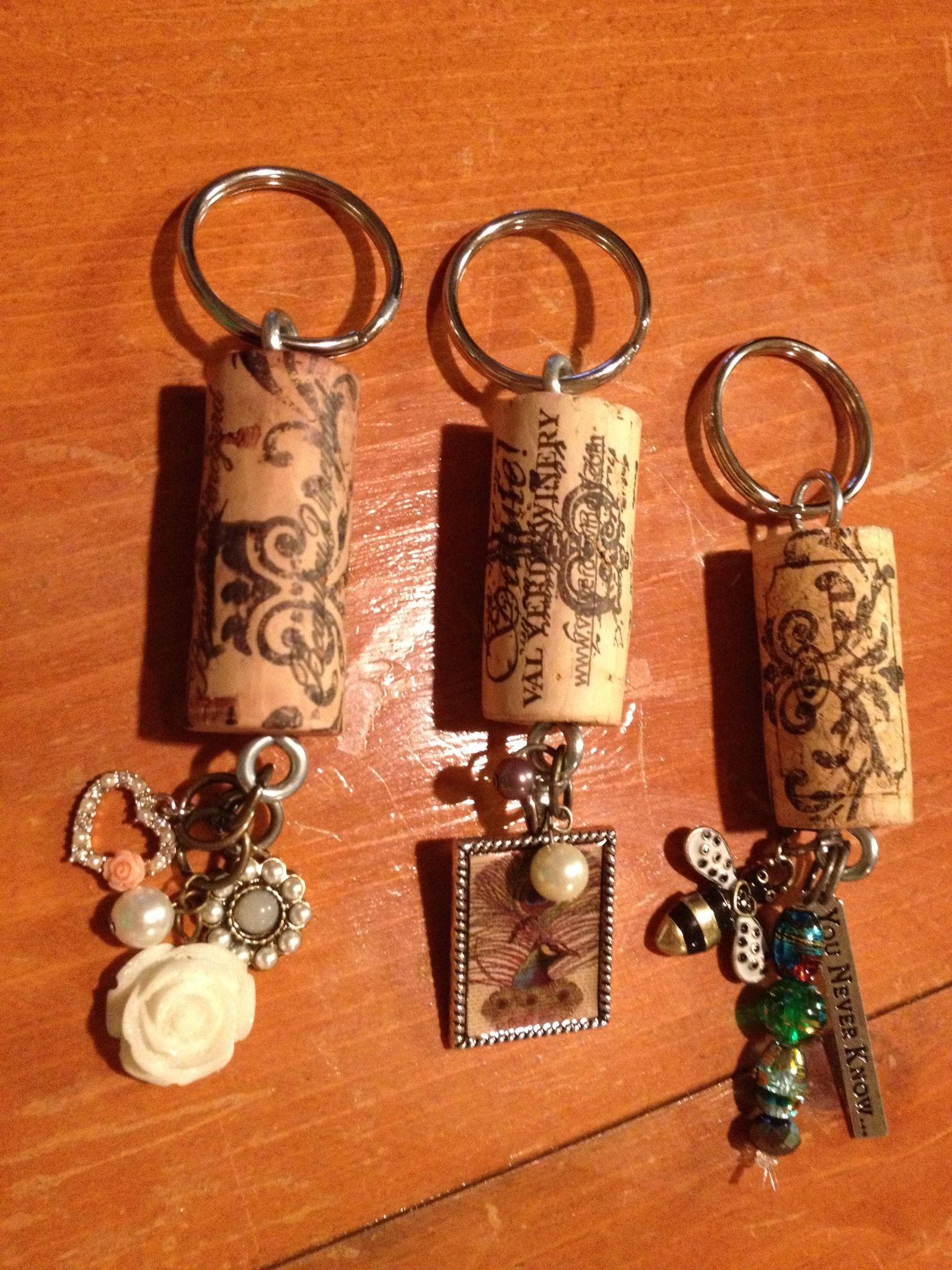 Wine Cork Keychain wflower