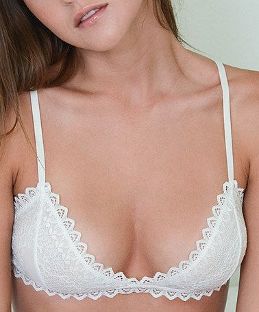 Another great find on #zulily! White Lace Scallop Triangle Bralette #zulilyfinds